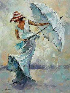 How to Improve Your Painting Skills with Acrylic Painting Tips? Figure Painting, Painting & Drawing, Rain Art, Umbrella Art, Acrylic Art, Portrait Art, Beautiful Paintings, Painting Inspiration, Female Art