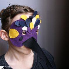 máscara de fieltro de pájaro, felt bird mask