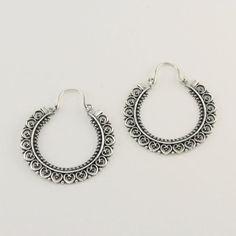 Sterling Silver Heart Filigree Hoop Earrings