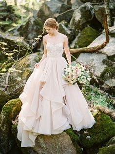 Enchanted Forest Blush Bridal Shoot An enchanted forest bridal shoot in a pink marble quarry turned wedding venue in Knoxville, TN with a blush wedding dress and rustic copper decor!<br> Creative Wedding Styling and Event Design Bridal Tops, Enchanted Forest Wedding, Woodland Wedding, Bridal Skirts, Wedding Dress Gallery, Bridal Separates, Wedding Dress Separates, Blush Bridal, Bridal Shoot