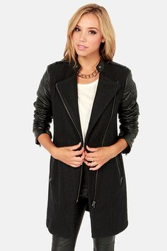 Check it out from Lulus.com! If looking cute is on your agenda, then you're definitely going to need the BB Dakota Melinda Black Coat! Quilted faux leather sleeves frame a cozy wool bodice with asymmetrical zipper that opens into pointed lapels, while princess seams give this menswear-inspired jacket a touch of feminine line. Complete your assembly of fashion with front zipper pockets, shoulder epaulets, decorative silver collar snaps, and exposed zippers at cuffs. Fully lined. Model is…
