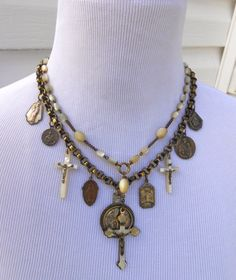 Antique Religious Medal Necklace Mother of Pearl by Vinchique, $285.00