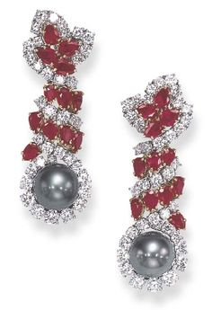 Harry Winston ~ Pearl, Diamond and Ruby Drop Earrings, Christie's