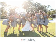 Fun bridesmaid poses, bridesmaid pose, gray and pink wedding. Chelsea + Andrew | Cavalier Golf + Yacht Club, Virginia Beach Virginia Wedding Photographers - Jen + Ashley Photography