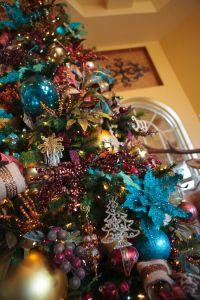 Peacock Christmas Decorating Close up