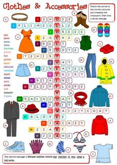 Clothes and Accessories - crossword