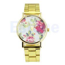New Women Rose Flower Geneva Stainless Steel Stunning Quartz Analog Wrist Watch