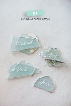 DIY sea glass place cards: http://www.stylemepretty.com/vault/search/images/silver
