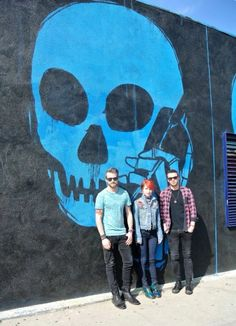 Paramore - that's an awesome blue skull in the background