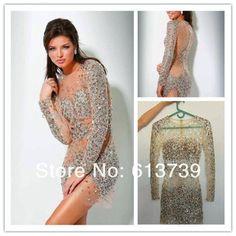 Blonde tranny in creamy sparkle dress
