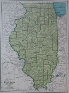 Vintage ILLINOIS Map of Illinois State Map 1946 by plaindealing