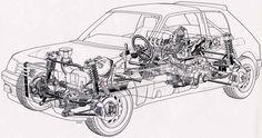 Peugeot 205 - Rally group B - cutaway. Cutaway, Evo, Sport Cars, Race Cars, 205 Turbo 16, Peugeot 106, Rally Raid, Car Sketch, Cars