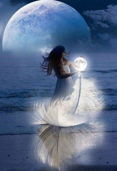 "geyashvecova: ""Art G. Moon Images, Moon Pictures, Fantasy Kunst, Fantasy Art, Moon Photography, Beautiful Moon, Moon Goddess, Moon Art, Fairy Art"