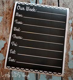 Chalkboard Vinyl Weekly Calendar