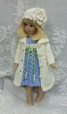 """Handknitted outfit for Dianna Effner Heartstrings doll 8"""", Kidz n Cats Minis 