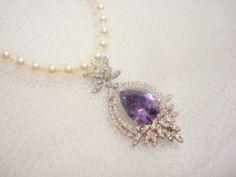 Bridal pearl necklace, wedding jewelry, rhinestone pendant necklace, purple stone, Swarovski pearls, bridesmaid jewelry. $85.00, via Etsy.- too cheesy?