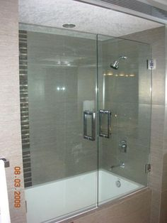 Make your bathtub do double duty as a shower, but without an unsightly shower curtain. Unframed glass moves within the stainless steel frame that surrounds the shower opening. Semi-Frameless doors are not only another design to choose from, but an alternative to frameless doors when two movable doors are needed by the bathroom layout.