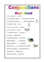 english worksheet conjunctions and or but projects to try grammar worksheets worksheets. Black Bedroom Furniture Sets. Home Design Ideas