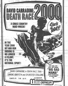 Death Race 2000 directed by Roger Corman, sci-fi movie advertisement