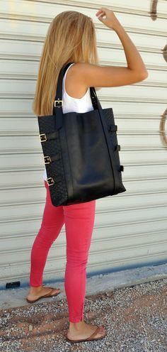 Large black, leather tote bag