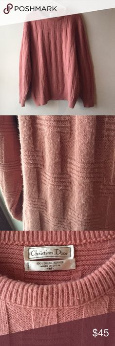 Christian Dior vintage oversized sweater  EUC Christian Dior vintage sweater, oversized and textured, slight piling throughout but not noticeable while wearing, perfect blush color for fall  Christian Dior Sweaters Crew & Scoop Necks