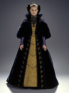This is a gown worn by Padme Amidala, while she addresses the senate in a cut scene from Star Wars, Episode II: Attack of the Clones.