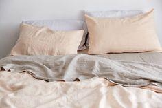 100% Linen Duvet Cover in Peach