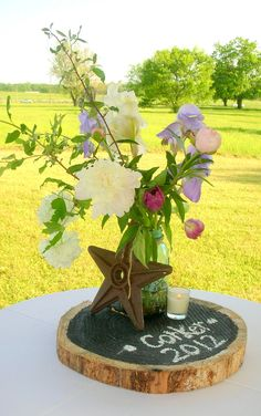 Iris, Peony, Tulip and Wood Slice Centerpiece