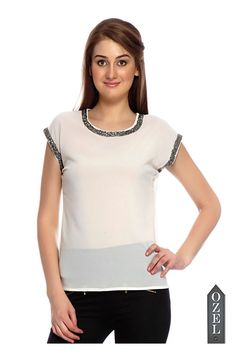 Sleeves Embellished Structured Top by Ozel Studio