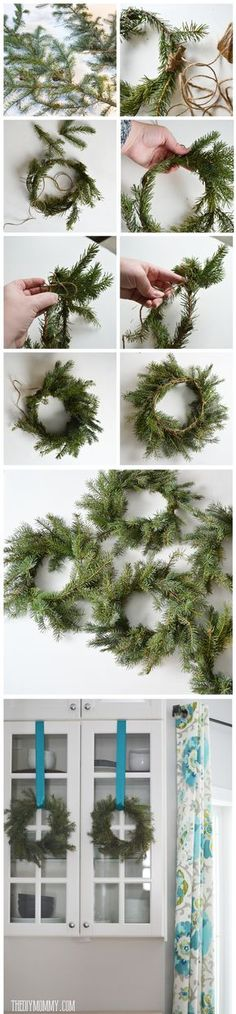 How to make real evergreen wreaths with just branches and twine