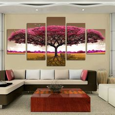 HOT 5 panel Printed tree art scenery landscape modular picture large canvas painting for bedroom living room home wall art decor – Bedroom Ideas – Bedroom Decoration Living Room Canvas Prints, Living Room Paint, Living Room Decor, Living Rooms, Living Room Pictures, Wall Art Pictures, Canvas Home, Canvas Wall Art, Painting Canvas