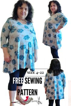 This is a Free Tunic Pattern that comes in many sizes. Video sew along, printing and cutting instructions are provided. It's simple but not boring and easy to make. This pattern is designed for knit fabrics.