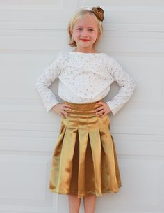PDF Sewing Pattern - An absolutely fabulous looking girls pleated skirt & top set with lots of options! Top is knit/stretch fabrics. Skirt is woven fabrics.
