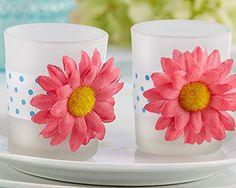 First Avenue Wedding Favors - Daisy Tea Light Wedding Favor (Set of 4), $15.06 (http://www.firstavenueweddingfavors.com/daisy-tea-light-wedding-favor-set-of-4/)