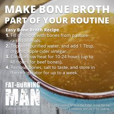 Homemade bone broth is one of the most powerful superfoods on the planet. Drink this bone broth to heal your gut, reverse aging, and cure the common cold. Crockpot Recipes, Soup Recipes, Diet Recipes, Cooking Recipes, Healthy Recipes, Healthy Soups, Ketogenic Recipes, Diabetic Recipes, Healthy Habits
