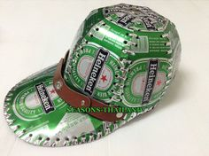 #1 NEW HEINEKEN BEER CAN CAP,GREEN HAT,RECYCLE,GIFT,HANDMADE,TIN,BOX,COLLECTIBLE