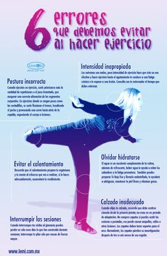 Infografía: 6 errores que debes evitar al hacer #ejercicio. #salud y #bienestar.
