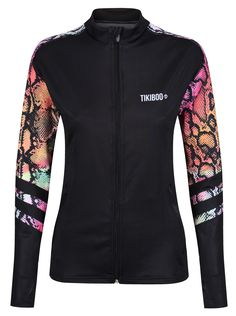 Made from soft, breathable fabric, the Exotic Snake workout jacket is essential for chilly training days. In jet black with colourful snakeskin detail on the sleeves and upper back, this jacket is eye-catching and unique. Zip in the heat and keep out the cold on your way to the gym or during outdoor workouts.  The stretchy LYCRA material wicks away moisture including sweat and raindrops to keep you dry and lightweight, and handy thumbholes secure sleeves in place for toasty warmth. Running Jacket, Training Day, Outdoor Workouts, Workout Tops, Adidas Jacket, Snake, Jet, Exotic, Cold
