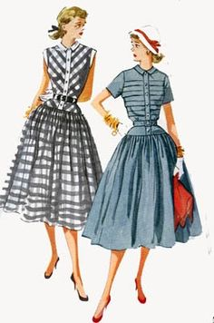 Vintage 50s Sewing Pattern Simplicity 4210  ROCKABILLY Full Skirt Dress with TUCKED Bodice Size 14 Bust 32. $13.00, via Etsy.