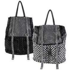 Journee Collection Women's Basketweave Rhinestone Accent Backpack   Overstock.com Shopping - Great Deals on Journee Collection Shoulder Bags