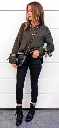 #fall #outfits women's corduroy sweatshirt, black jeans, and pair of black shoes outfit