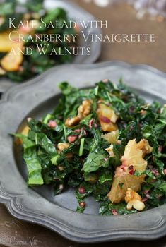 Kale Salad with Cranberry Vinaigrette and Walnuts