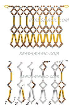 Free pattern for beaded necklace Adriana Beads Magic see photo - 2 of 2 Seed Bead Necklace, Seed Bead Jewelry, Bead Jewellery, Seed Beads, Bugle Beads, Perler Beads, Beaded Necklace Patterns, Seed Bead Patterns, Beaded Bracelets