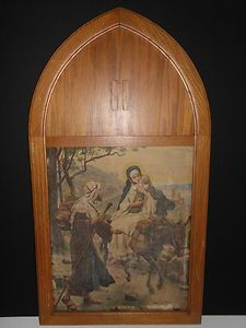 Catholic Second Sorrow Flight To Egypt Print In Stained Glass Window Shape