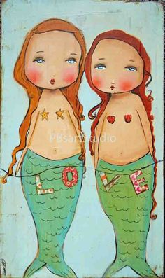 Love mermaids print of original art 11x14 by PBsArtStudio on Etsy