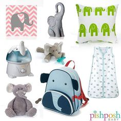 All the !!! If your elephant obsession is anything like ours, we can help you out. Clockwise from top left: Glenna Jean Swizzle pink chevron elephant wall art, decorative elephant, and Ellie elephant throw pillow, Aden & Anais Jungle Jam sleeping bag, Skip Hop Elephant Zoo Pack, Glenna Jean plush elephant, Crane Adorable Animals elephant humidifier, and Wubbanub elephant pacifier.