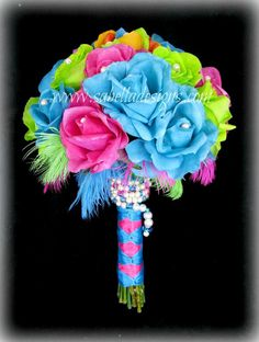 Real Touch Bridal Flower Bridesmaid Bouquet Groom's Boutonniere Wild Neon Feathers Rainbow Rose Turquoise Fuchsia Lime Green Wedding Flowers...