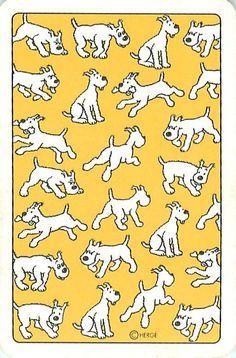 So many little Snowys! Fox Terriers, Wire Fox Terrier, Tin Tin Cartoon, Caricatures, Herge Tintin, Comic Art, Comic Books, Ligne Claire, Bd Comics