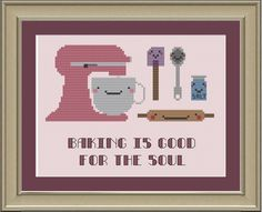 Baking is good for the soul: cute cross-stitch pattern. $3.00, via Etsy.