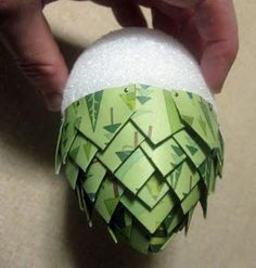diy paper pine cone. would love it in browns for a natural look